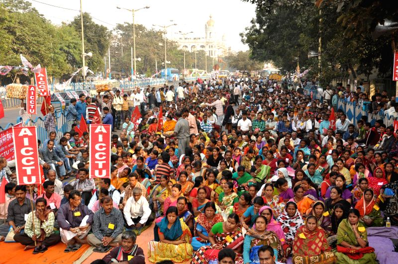 AICCTU activists participate in a protest rally against Central Government in Kolkata, on Dec 8, 2014.