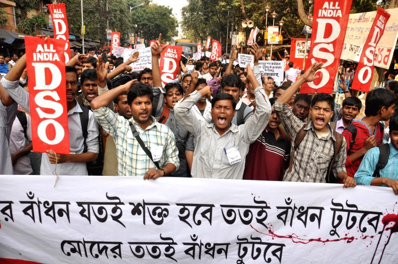 All India Democratic Students' Organization (AIDSO) activists take part in a protest rally against West Bengal Government in Kolkata, on Feb 9, 2015.