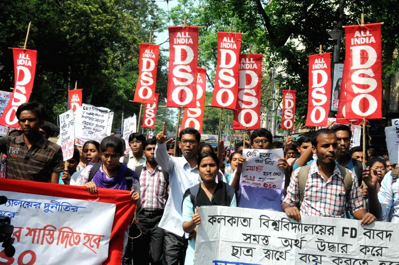 All India Democratic Students' Organisation (AIDSO) and SUCI (C) activists stage a demonstration  against the misappropriation of Calcutta University funds in Kolkata, on March 31, 2015.