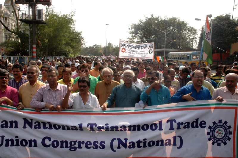 All India Trinamool Congress Trade Union members stage a demonstration against the national budget for 2015-16 in Kolkata, on Feb 28, 2015.