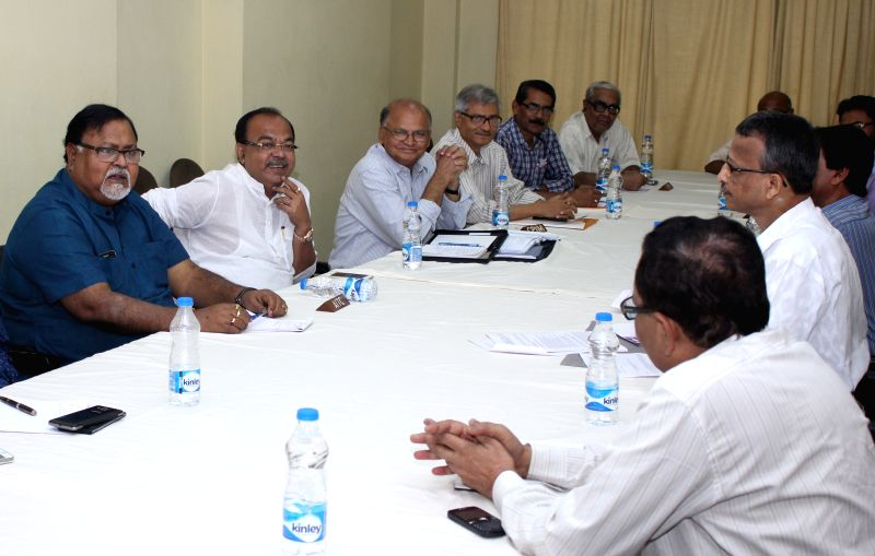 All party leaders at State Election Commission office during all party meeting for the upcoming KMC election 2015 in Kolkata on March 28, 2015.