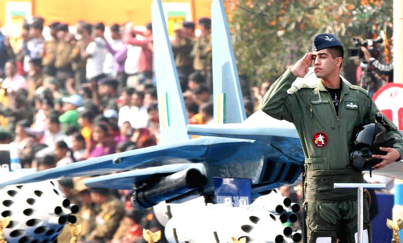 An Air Force tableau during the Republic Day parade organised at Red Road in Kolkata on Jan 26, 2015.
