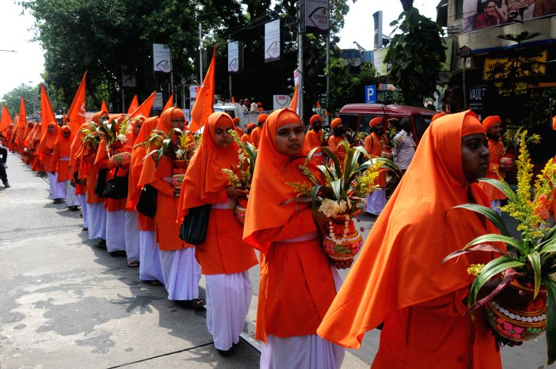 Anandamargis participate in a rally organised to commemorate the April 30, 1982 killings of 16 monks and a sanyasin on Bijan Setu, near Ballygunge in Kolkata, on April 30, 2015.