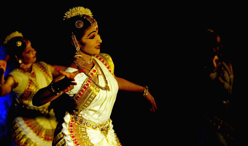 Artist performs during a programme organised by Kerala Tourism in Kolkata on Feb 16, 2015.