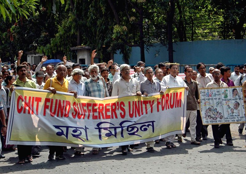 Ashim Chatterjee, Sunanda Sanyal, Sujan Chakraborty Abdul Mannan and others participate in a demonstration organised by Chit Fund Sufferer's Unity Forum in Kolkata, on March 16, 2015. - Ashim Chatterjee