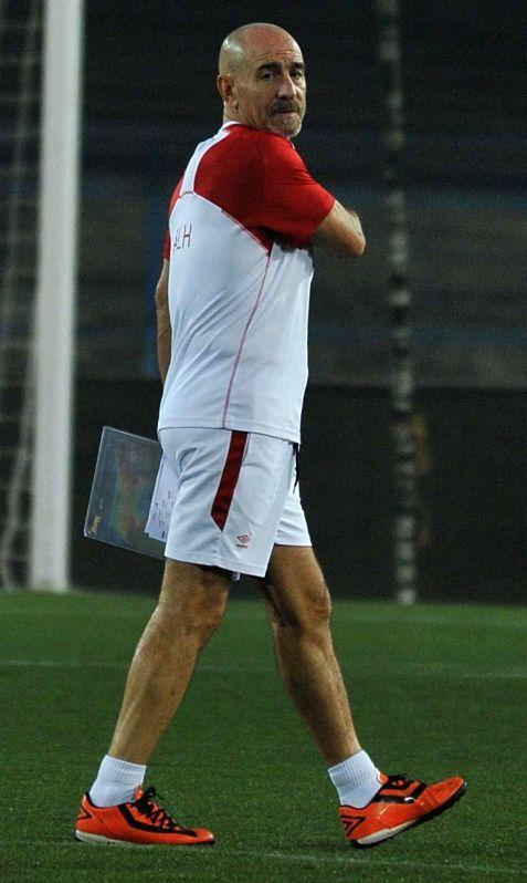 Atletico de Kolkata coach Antonio Lopez Habas during a practice session in Kolkata on Dec 13, 2014.