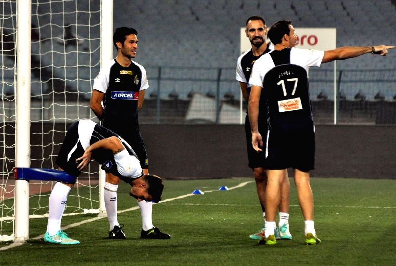 Atletico de Kolkata players during a practice session in Kolkata, on Dec 9, 2014.