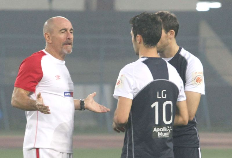 Atletico de Kolkata players during a practice session in Kolkata on on Dec 12, 2014.
