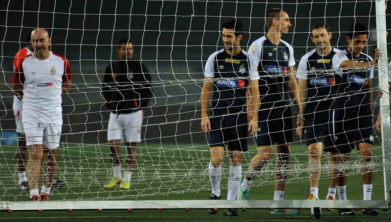 Atletico de Kolkata players during a practice session in Kolkata on Dec 13, 2014.