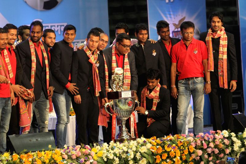 Atletico de Kolkata players during a felicitation programme of the team at Netaji Indoor stadium in Kolkata on Dec 24, 2014.