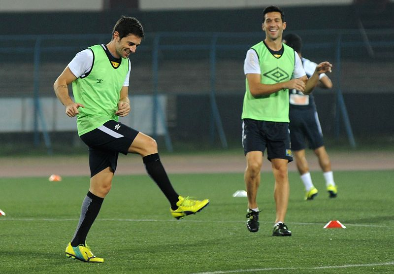 Atletico de Kolkata players in action during a practice session in Kolkata on Nov 26, 2014.