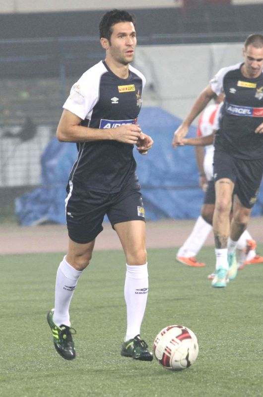 Atletico de Kolkata players in action during a practice session in Kolkata on on Dec 12, 2014.