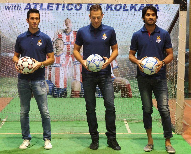 Atletico de Kolkata players Luis Garcia, Jakub Podany and Subhasish Roy Chowdhury during a promotional event in Kolkata on Dec 11, 2014. - Subhasish Roy Chowdhury