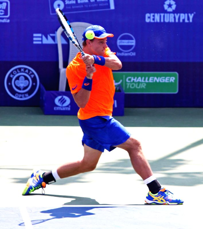 Australian tennis player James Duckworth in action during the Emami Kolkata Open 2015- ATP Challenger on Feb 23, 2015.