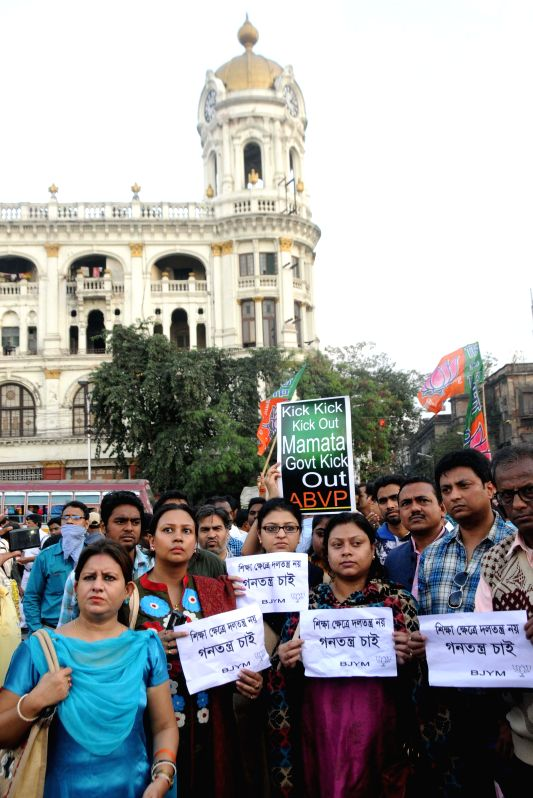 Bharatiya Janata Yuva Morcha (BJYM ) activists stage a demonstration against West Bengal Government in Kolkata on Jan. 3, 2014.