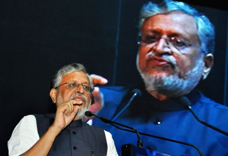 :Kolkata: Bihar Deputy Chief Minister and GST Network panel head Sushil Modi addresses during a national seminar organsied by Institute of Chartered Accountants of Indiaon Goods and Services Tax ...