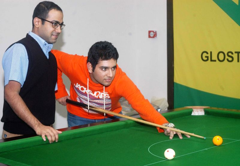 Billiards player Sourav Kothari and Brijesh Dmani during National Billiards and Snooker Championship at Bengal Rowing Club in Kolkata, on Jan 2, 2015.