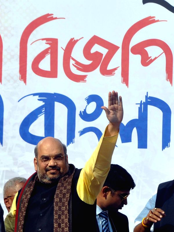BJP chief Amit Shah during a BJP rally in Kolkata, on Nov 30, 2014.