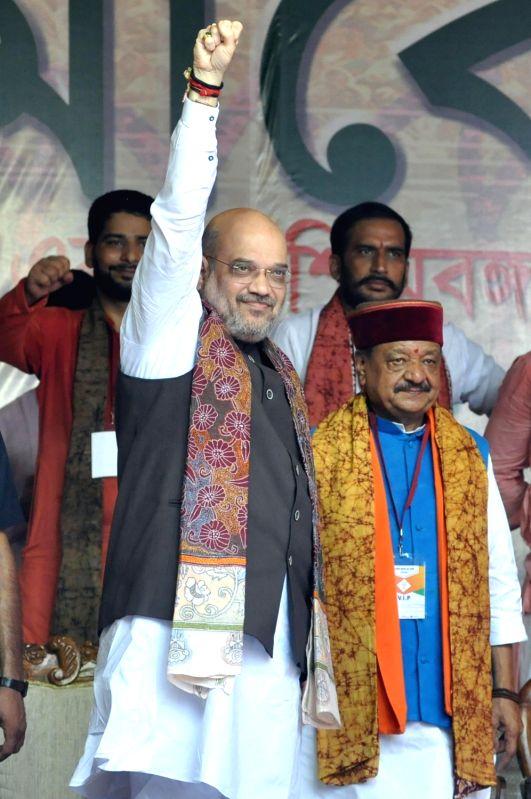 :Kolkata: BJP chief Amit Shah during a rally at Kolkata's Mayo Road on Aug 11, 2018. .