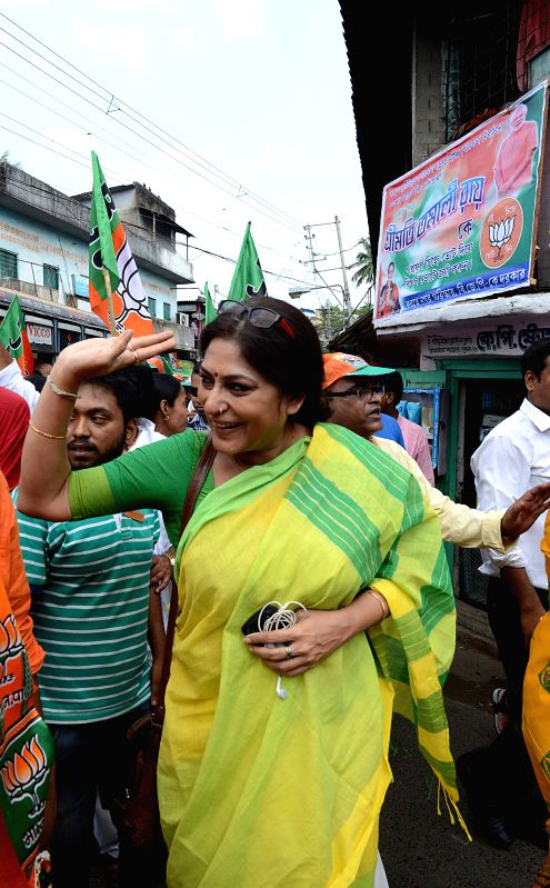 BJP leader and actress Rupa Ganguly campaigns for the party ahead of Kolkata Municipal Polls  in Kolkata, on March 29, 2015.