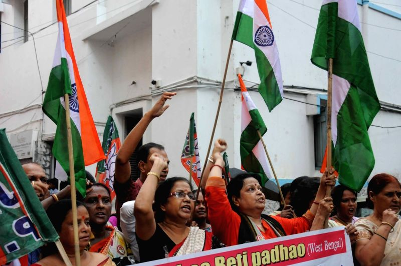 "Kolkata : BJP Mahila Morcha activists participate in ""Beti Bachao, Beti Padhao"" in Kolkata, on Aug 9, 2016."