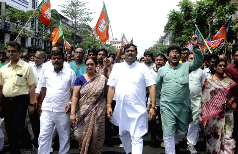 BJP workers led by West Bengal BJP chief Rahul Sinha participate in a rally organised during the 12-hour general strike called to protest against the  'unfair practices' of Trinamool ... - Rahul Sinha