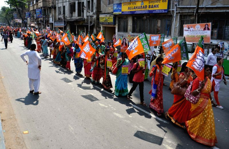 Kolkata: BJP workers stage a demonstration on International Women's Day 2019 in Kolkata, on March 8, 2019. (Photo: Kuntal Chakrabarty/ IANS)