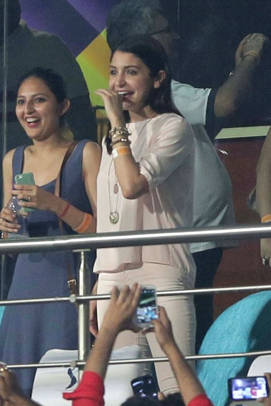 Bollywood actress Anushka Sharma cheering for RCB during the IPL match between Kolkata Knight Riders (KKR) and Royal Challengers Bangalore (RCB) at Eden Gardens in Kolkata on April 11, 2015.