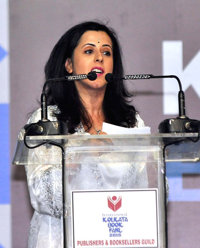 British author Anita Anand addressing during inauguration of 39th International Kolkata Book Fair in Kolkata on Jan 27, 2015.