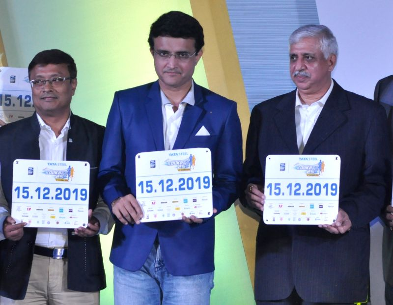 Kolkata: CAB President Sourav Ganguly and Tata Steel Corporate Service Vice President Chanakya Chaudhary during the launch of the 6th edition of TATA Steel Kolkata 25K in Kolkata on Sep 16, 2019. (Photo: Kuntal Chakrabarty/IANS)