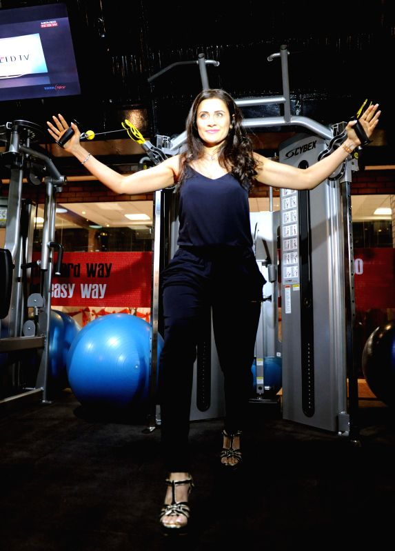 Celebrity fitness trainer Yasmin Karachiwala during the inauguration of a fitness centre in Alipore of Kolkata on March 10, 2015.