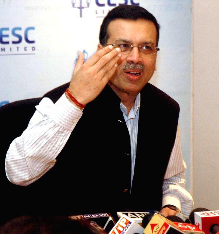 CESC chairman Sanjiv Goenka addresses press regarding CESC's plan to introduce scholarships for students in Kolkata, on Jan 14, 2015.