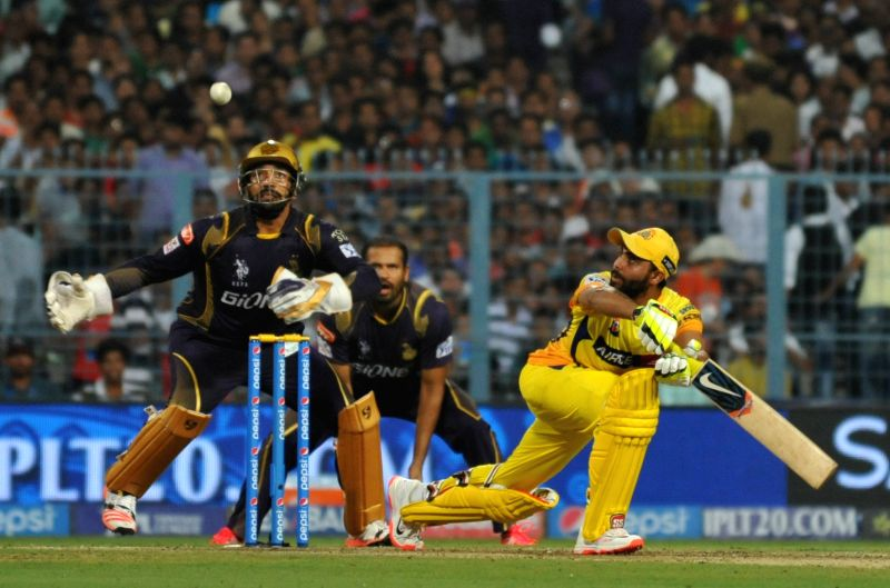 Chennai Super Kings bats man Ravindra Jadeja in action during an IPL-2015 match between Chennai Super Kings and Kolkata Knight Riders in Kolkata, on April 30, 2015. - Ravindra Jadeja