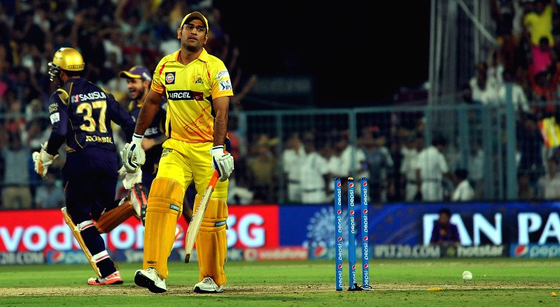 Chennai Super Kings player captain MS Dhoni gets dismissed during an IPL-2015 match between Chennai Super Kings and Kolkata Knight Riders in Kolkata, on April 30, 2015. - MS Dhoni