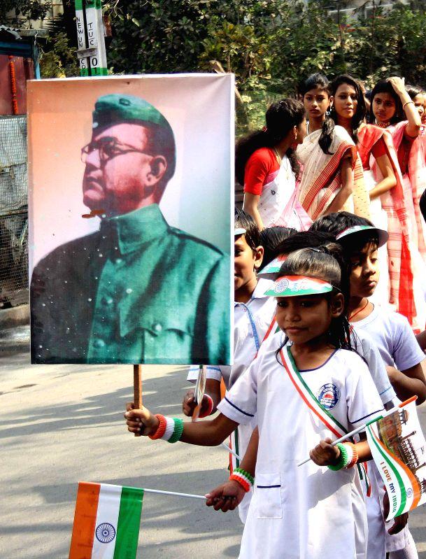 Children participate in a programme organised Netaji Subhas Chandra Bose's  birth anniversary in Kolkata, on Jan 23, 2015.