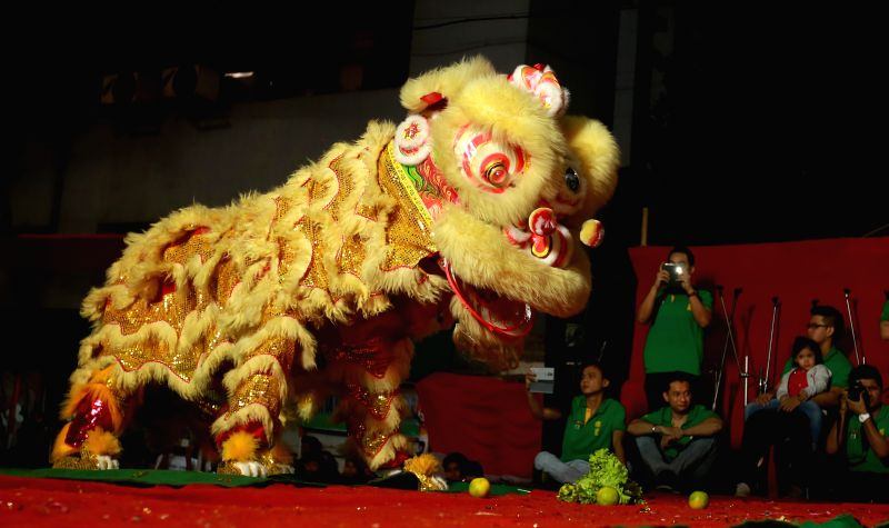 Chinese acrobatic troupe perform in Kolkata to celebrate upcoming Chinese New Year on Feb. 15, 2015.
