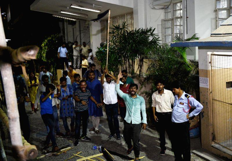 Kolkata: Clashes broke out during BJP President Amit Shah's roadshow, in Kolkata, on May 14, 2019. (Photo: IANS)