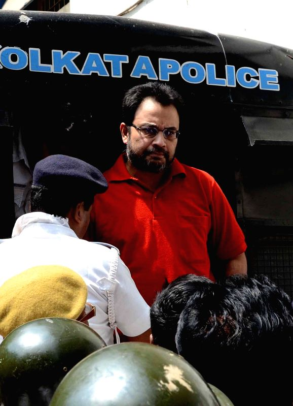 Close aide of Saradha scam kingpin Sudipta Sen, Debjani Mukherjee being taken to be produced at a Kolkata court in connection with multi-crore-rupee Sardha chit fund scam  on March 26, 2015.