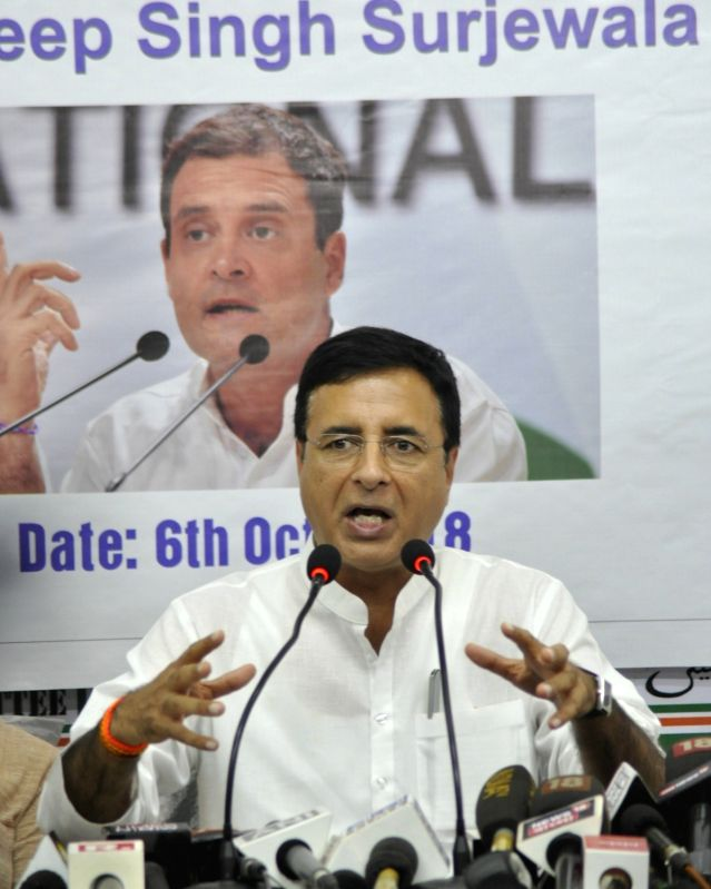 :Kolkata: Congress leader Randeep Singh Surjewala addresses a press conference, in Kolkata on Oct 6, 2018. .