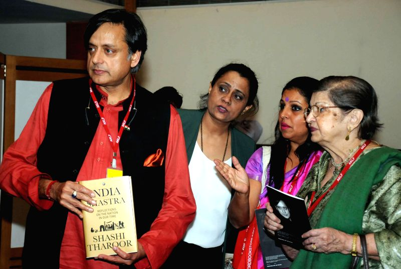 Congress MP from Thiruvananthapuram Shashi Tharoor at the launch of his book `India Shastra` during Kolkata Literary Festival 2015 in Kolkata, on Jan 15, 2015.