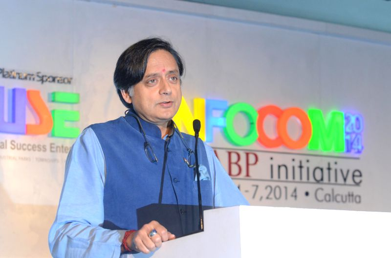 Congress MP Shashi Tharoor delivering leadership keynote during a seminar of INFOCOM 2014 on `Driving Excellence through Creativity` in Kolkata on Dec. 6, 2014.