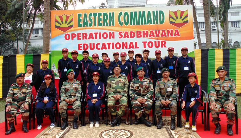 COS, HQ Bengal Area Maj Gen Harsha Kakar with a group of 15 students and three teachers from Senapati district of Manipur who are on a Op Sadbhavana Tour to Kolkata on Jan 16, 2015. The tour