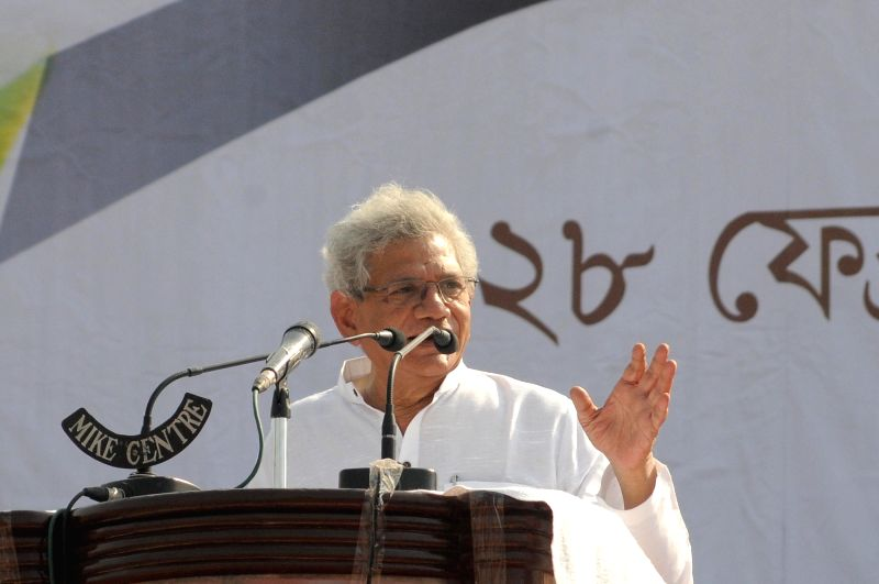 Kolkata: CPI(M) All India General Secretary Sitaram Yechury addressing during Left, Congress, ISF joint rally at Brigade Parade Ground against TMC and BJP ahead of State Assembly Election in Kolkata on Sunday 28th February, 2021. (Photo: Kuntal Chakr
