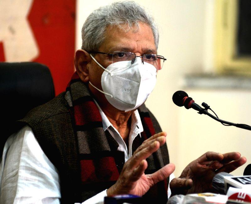 Kolkata: CPI-M General Secretary Sitaram Yechury addresses a press conference, in Kolkata on Jan 4, 2021. (Photo: Kuntal Chakrabarty/IANS)