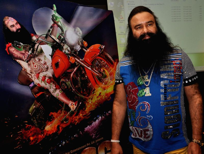 Dera Sacha Sauda chief Gurmeet Ram Rahim Singh during a press conference to promote his upcoming film `MSG: The Messenger of God` in Kolkata, on Jan 9, 2015.