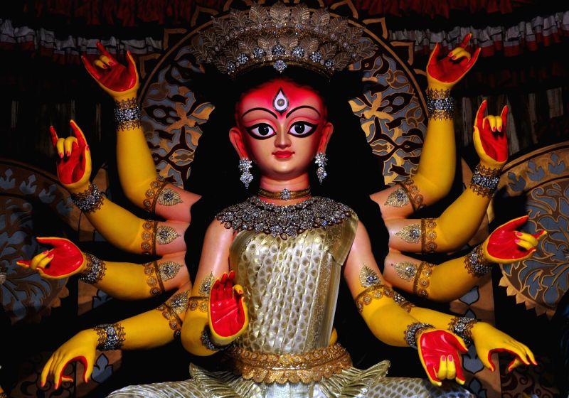 Durga idol at Bhawanipur Aikatan Durga Puja pandal on 'Maha Panchami' - fifth day of Durga Puja, in Kolkata