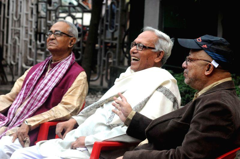 Expelled left leader Rezzak Mollah, educationist Sunanda Sanyal, singer and former Trinamool Congress MP Kabir Suman during a press conference at Press Club in Kolkata on Dec 5, 2014. (Photo