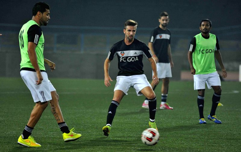 FC Goa players in action during a practice session in Kolkata on Dec 13, 2014.