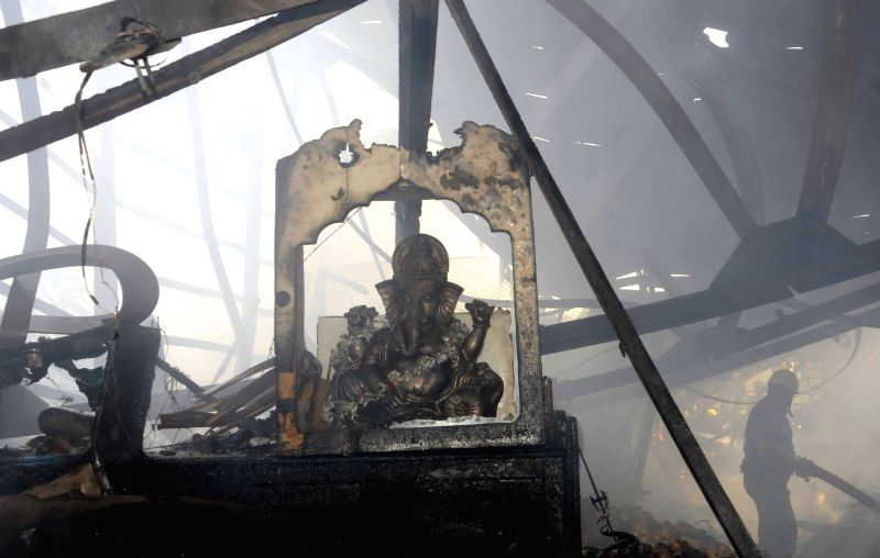 Fire breaks out at New Market, Kolkata on May 18, 2015.