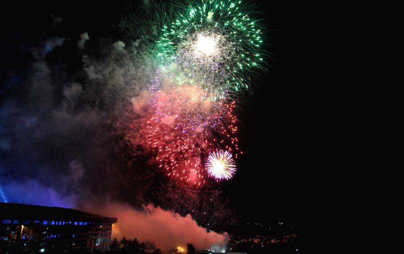 Fireworks show during inauguration ceremony of IPL at the Salt Lake Stadium in Kolkata on April 7, 2015.